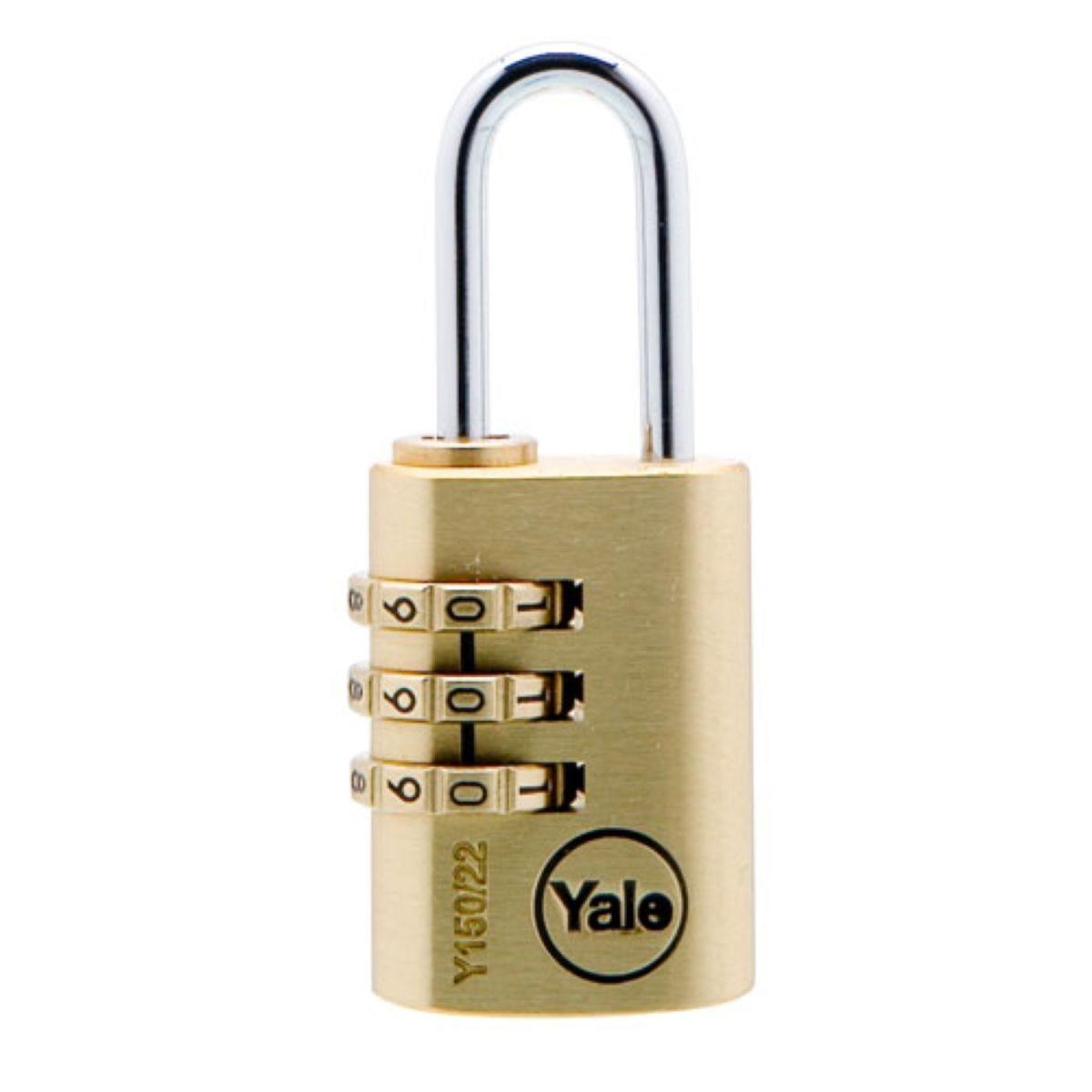 Yale 22mm Brass Combination Padlock