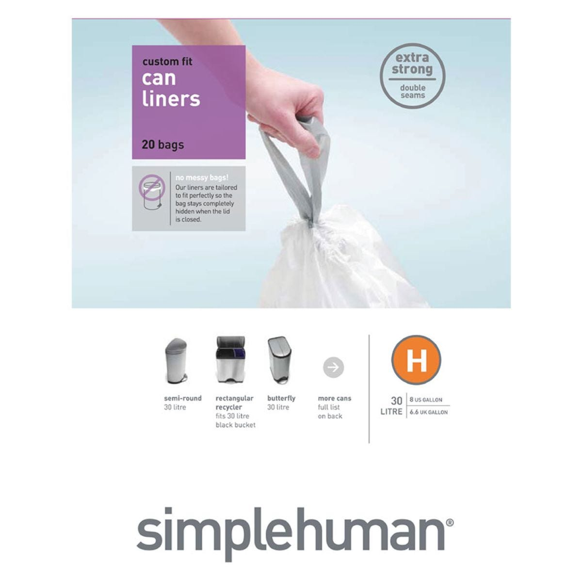 Simplehuman Custom Fit 30L Size H Bin Liners - Pack of 20