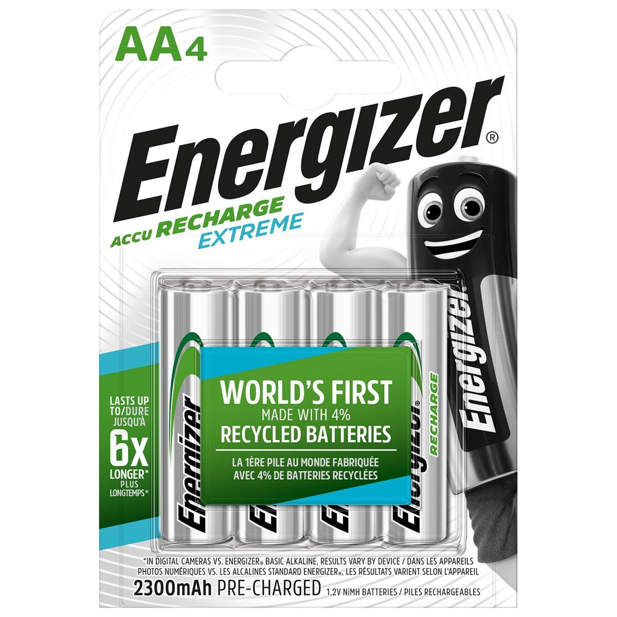 Energizer Accu Rechargeable Batteries AA - Pack of 4
