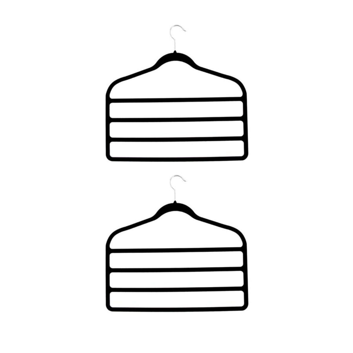 H&L Russel Black Velvet Trouser Hanger - 2 Pack