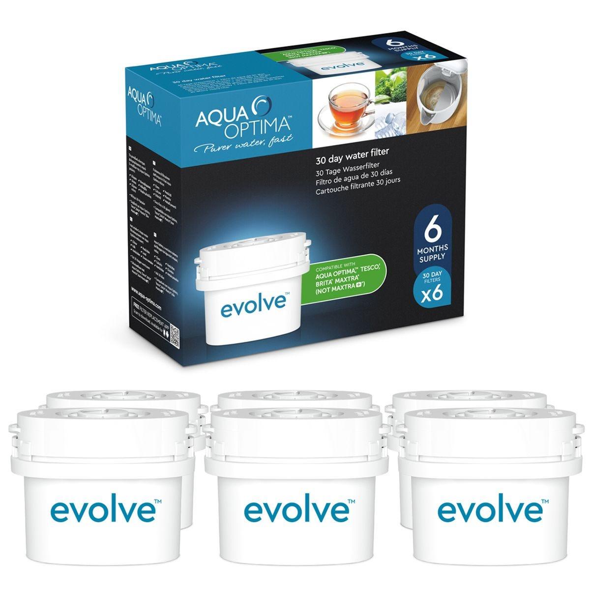 Aqua Optima Evolve 30-Day Water Filter Cartridges - 6 Pack