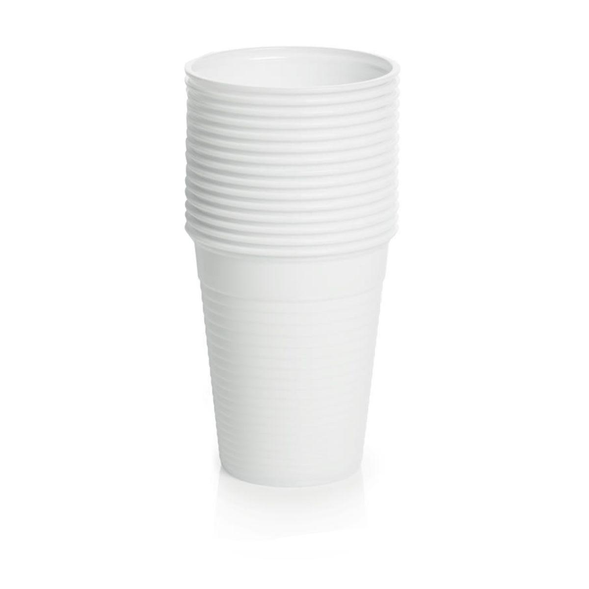 Essential Plastic White Cups  15 Pack