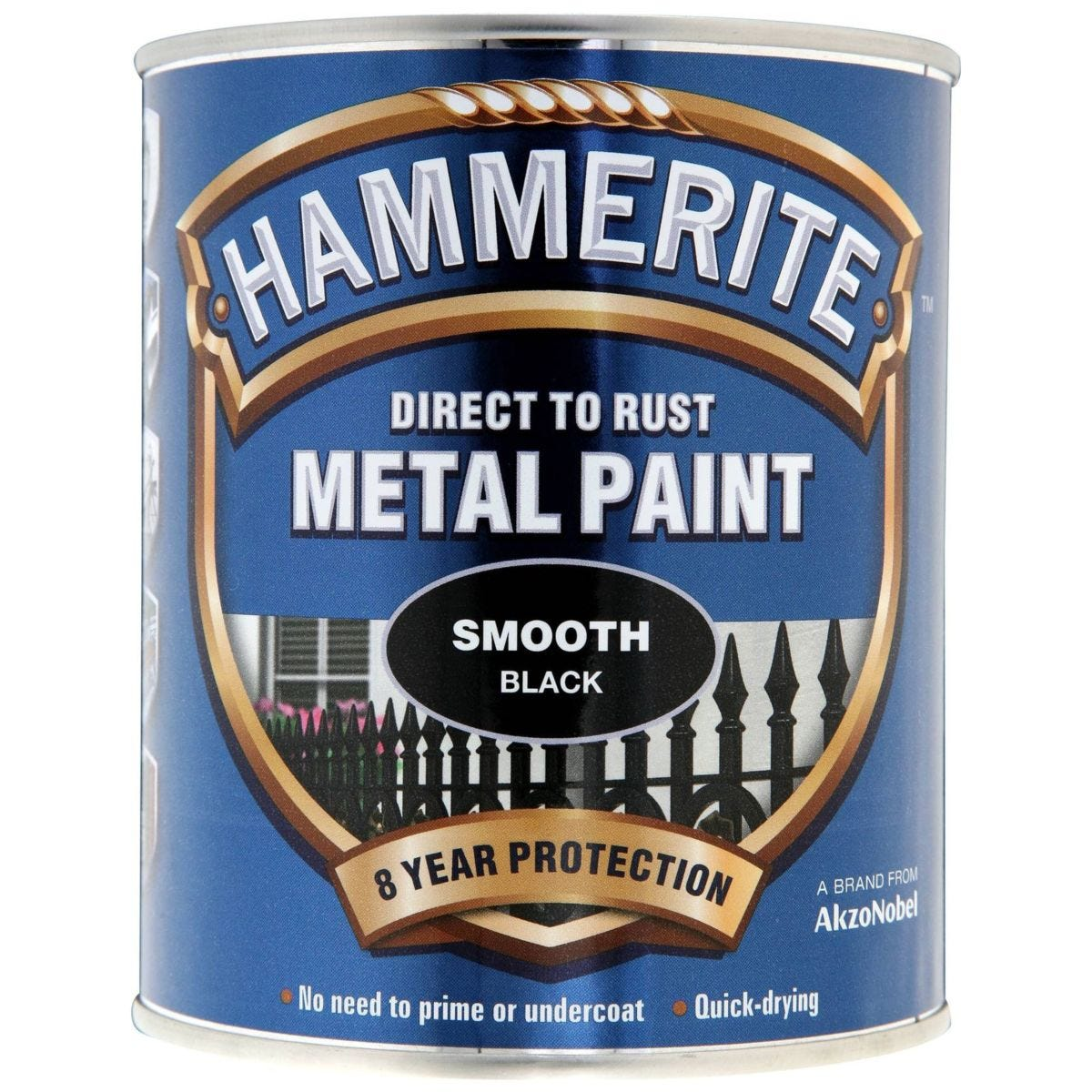 Hammerite Direct To Rust Metal Paint - Smooth Black - 750ml