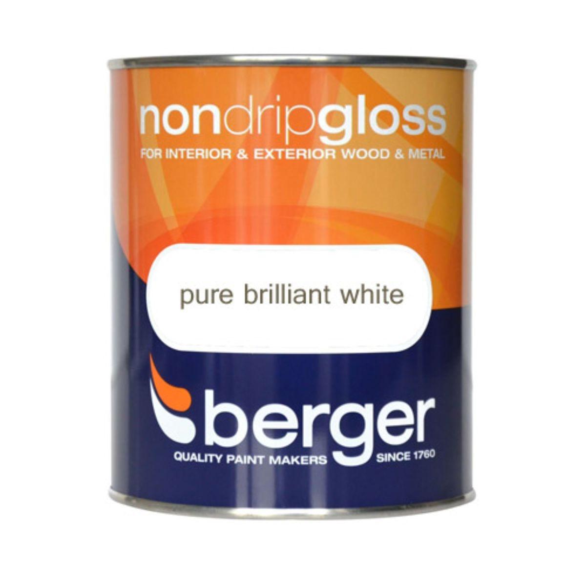 Berger Non-Drip Gloss Paint – White, 750ml