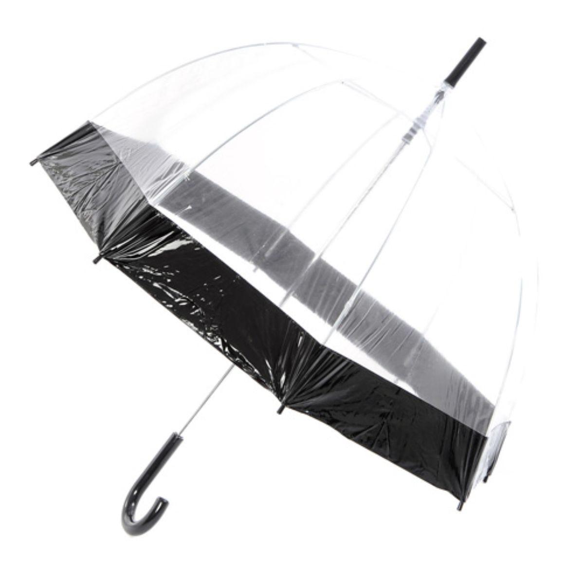 Totes Raindrops Clear Dome Umbrella – Black