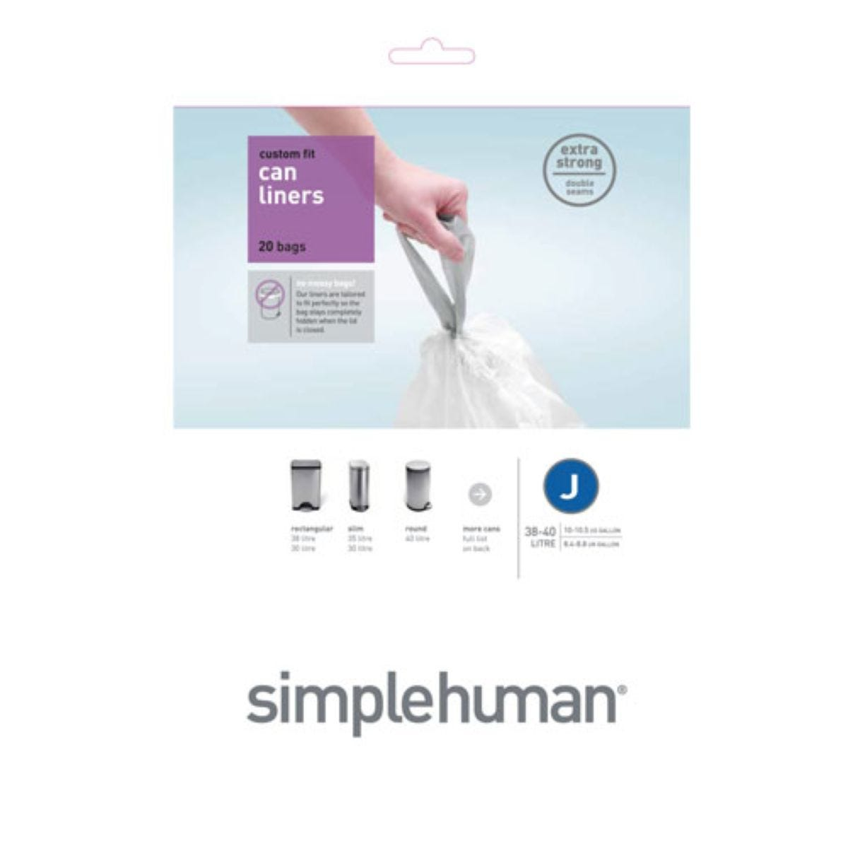 Simplehuman Custom Fit 40L Size J Bin Liners - Pack of 20