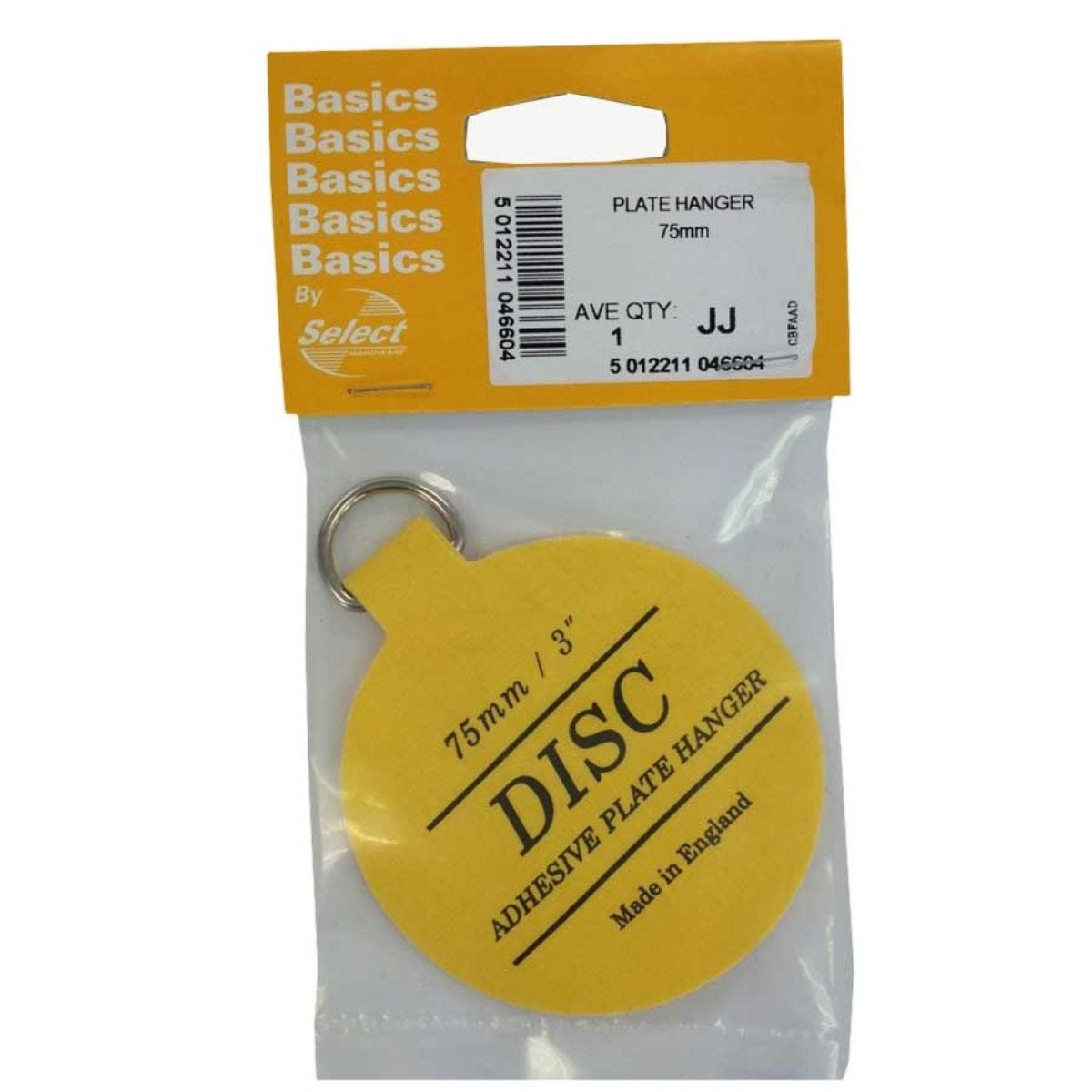 Select Hardware Disc Plate Hanger 75mm (1 Pack)