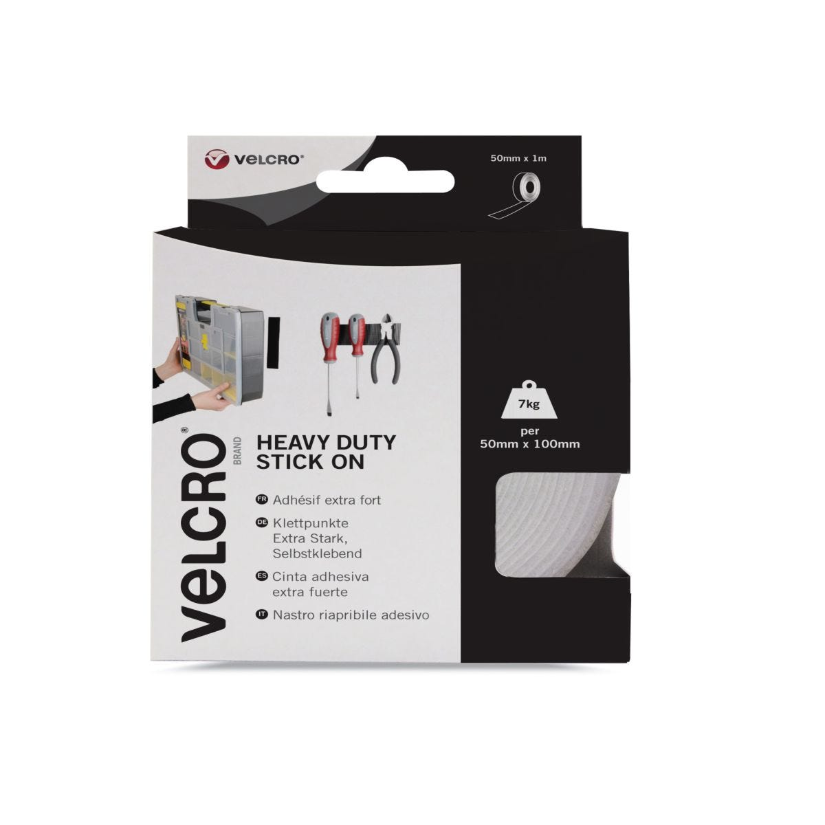 VELCRO Brand Heavy Duty Stick On Tape 50mm x 1m White
