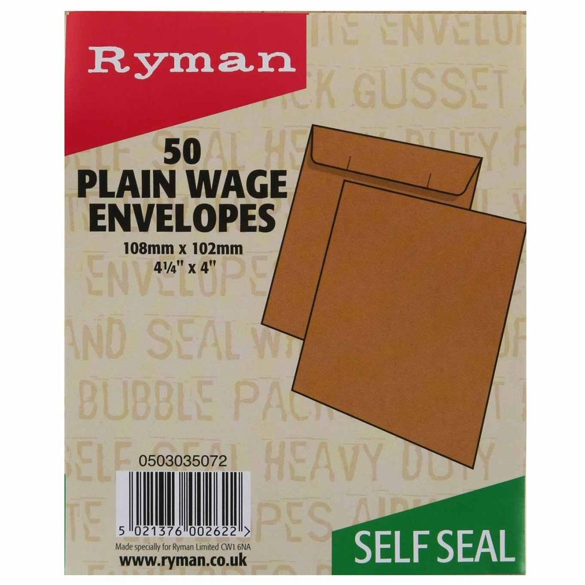 Ryman Wage Envelopes 108x102mm Self Seal Plain - Pack of 50