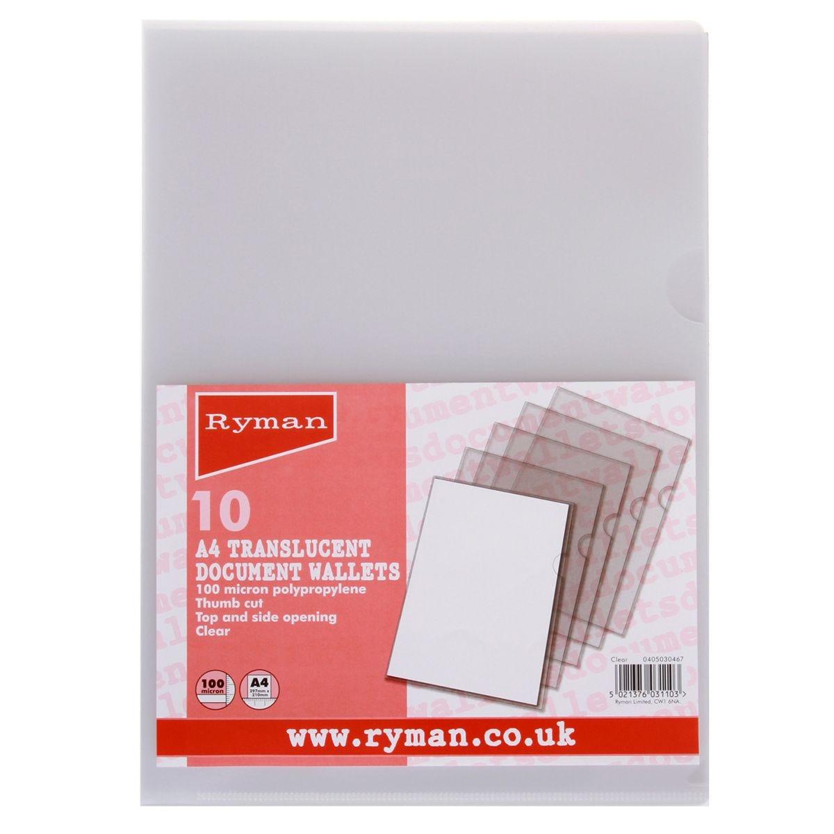 Ryman Thumb Cut Folders A4 100 Micron - Pack of 10