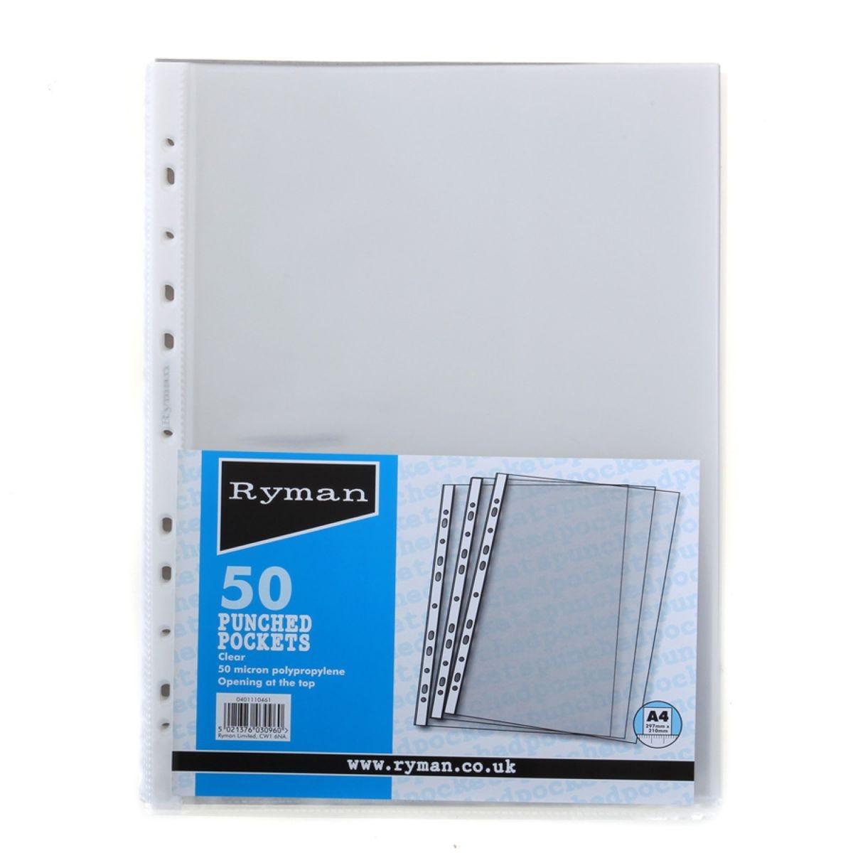 Ryman Clear A4 Pockets – 50 Pack