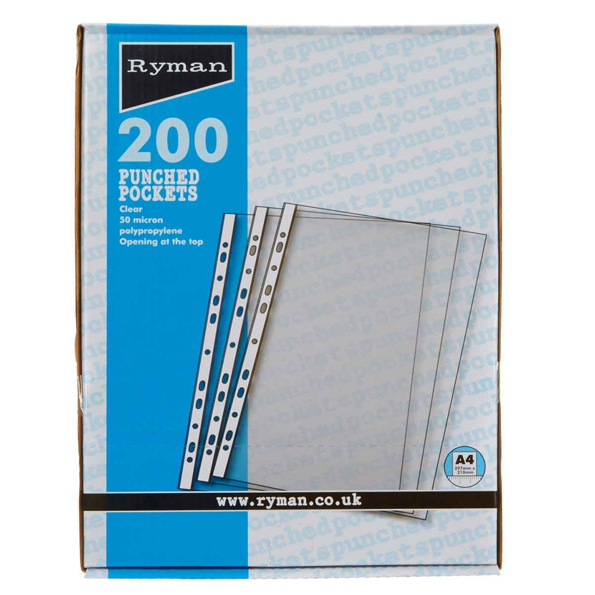 Ryman Punched Pockets A4 50 Micron - Box of 200