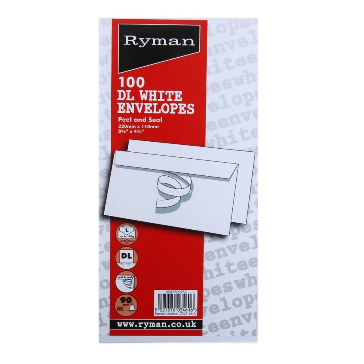 Ryman Envelopes DL 90gsm Peel and Seal - Pack of 100