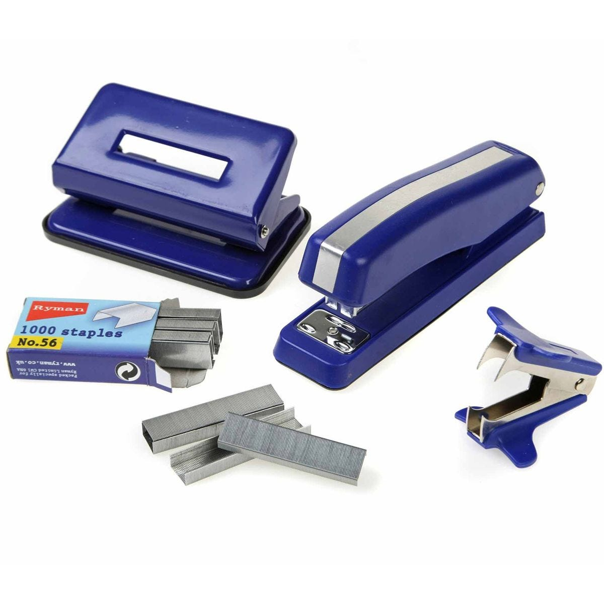Ryman Desk Top Kit with Stapler & Hole Punch - Blue