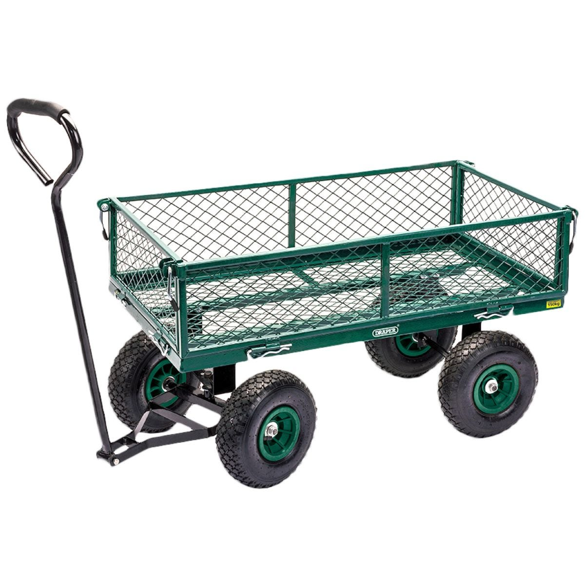 Draper Steel Mesh Garden Cart with Pneumatic Wheels