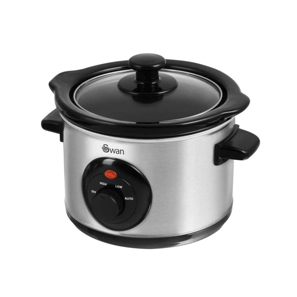 Swan Stainless Steel 1.5L Slow Cooker - Silver