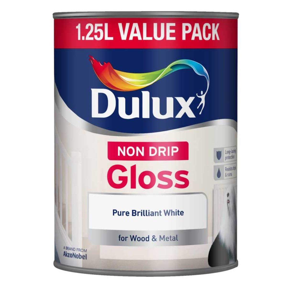 Dulux Non-Drip Gloss Paint – Pure Brilliant White – 1.25L