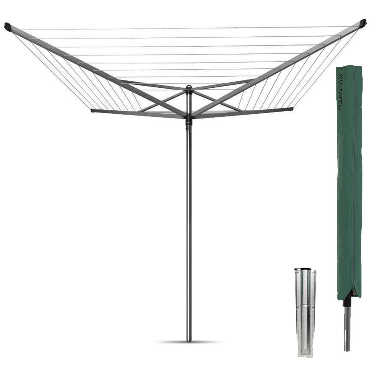 Brabantia Topspinner 50m 4-Arm Rotary Airer with Ground Spike and Cover