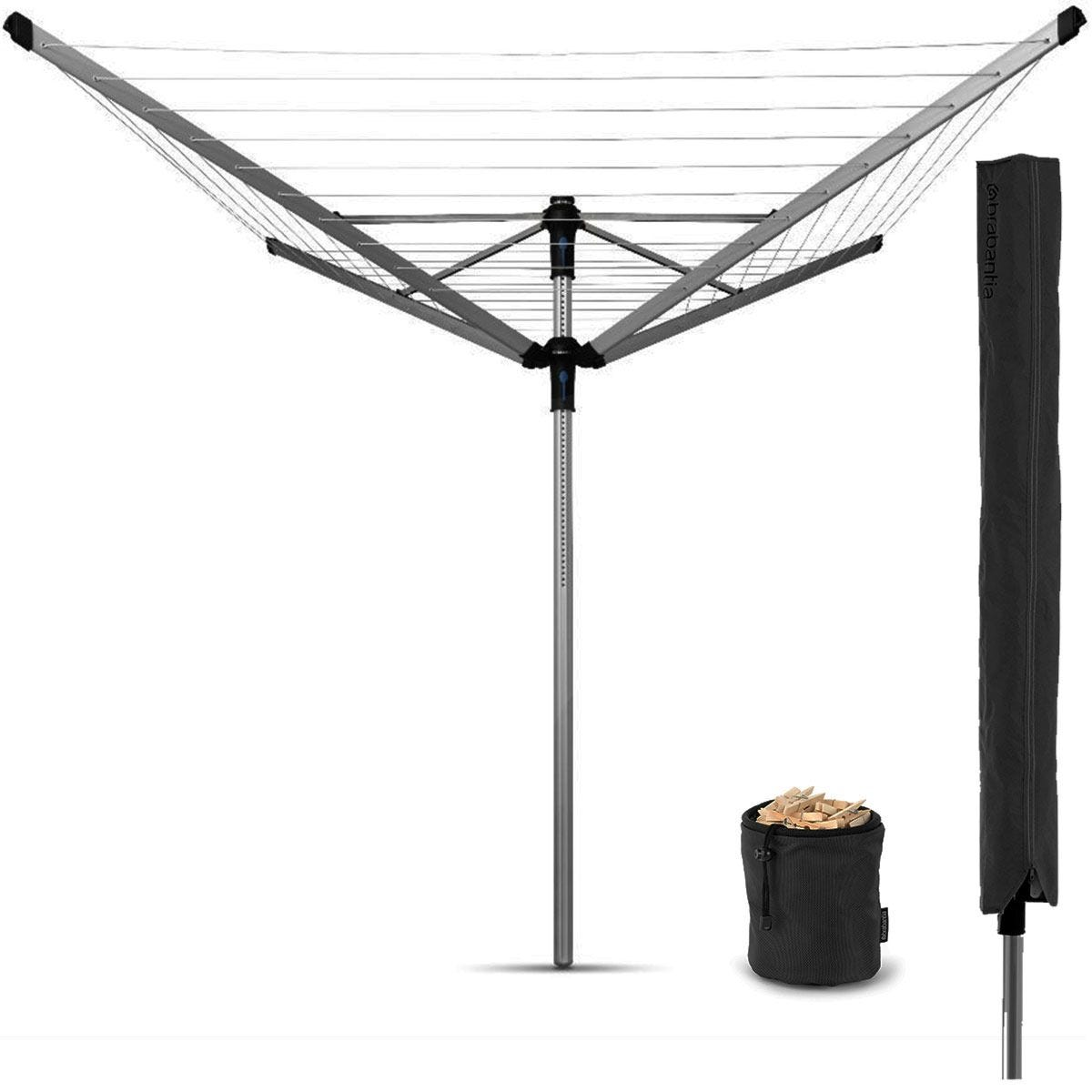 Brabantia Lift-O-Matic Advance 50m 4-Arm Rotary Airer with Cover and Peg Bag