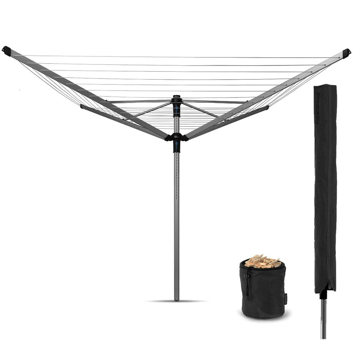 Brabantia Lift-O-Matic Advance 60m 4-Arm Rotary Airer with Cover and Peg Bag