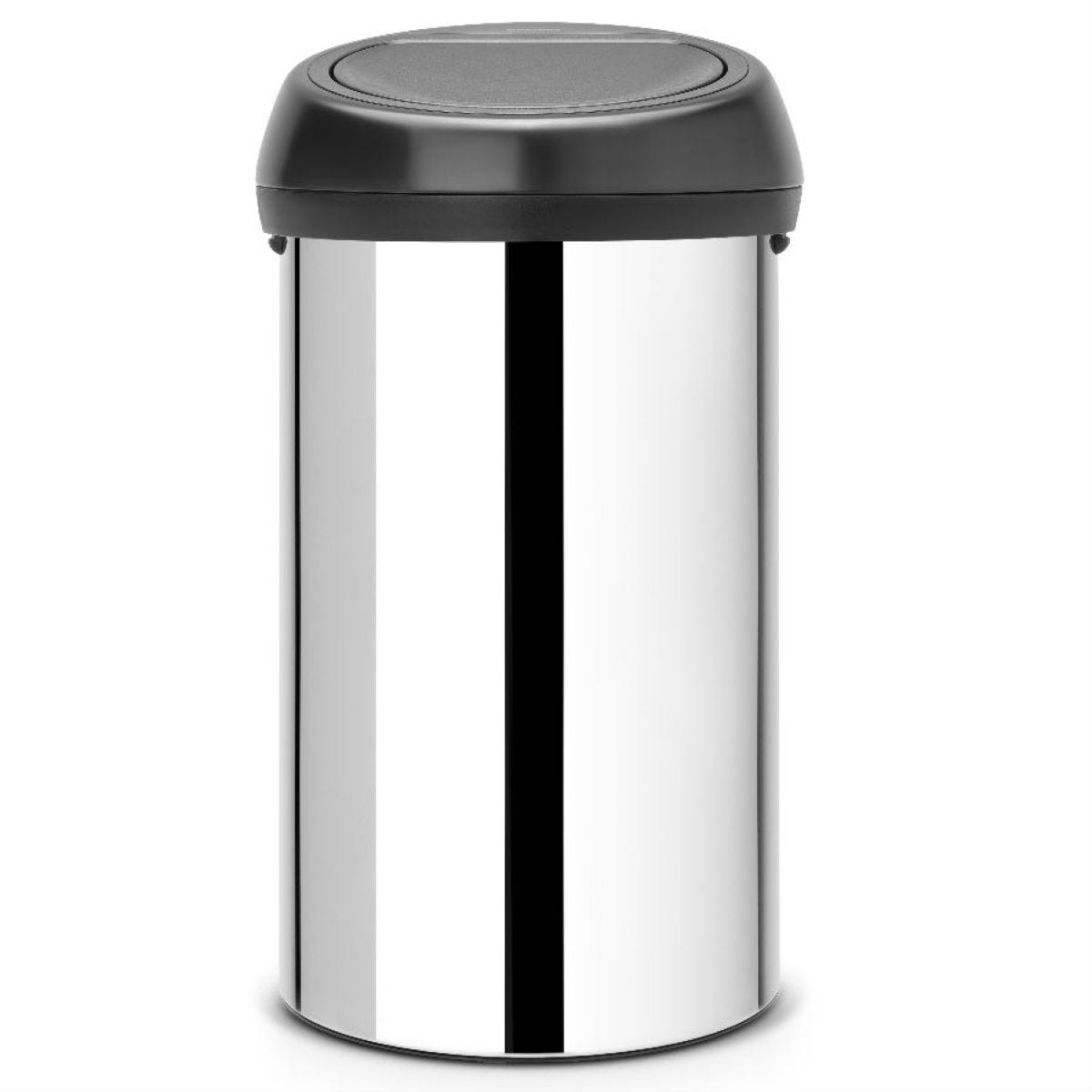 Brabantia 60L Touch Bin - Brilliant Steel With Black Lid