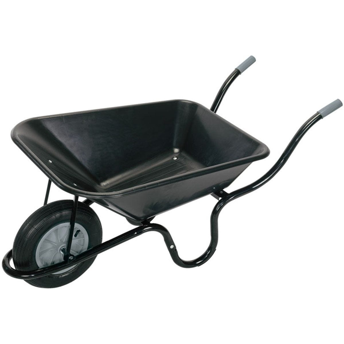 Draper Plastic Tray Wheelbarrow (85L) - Black
