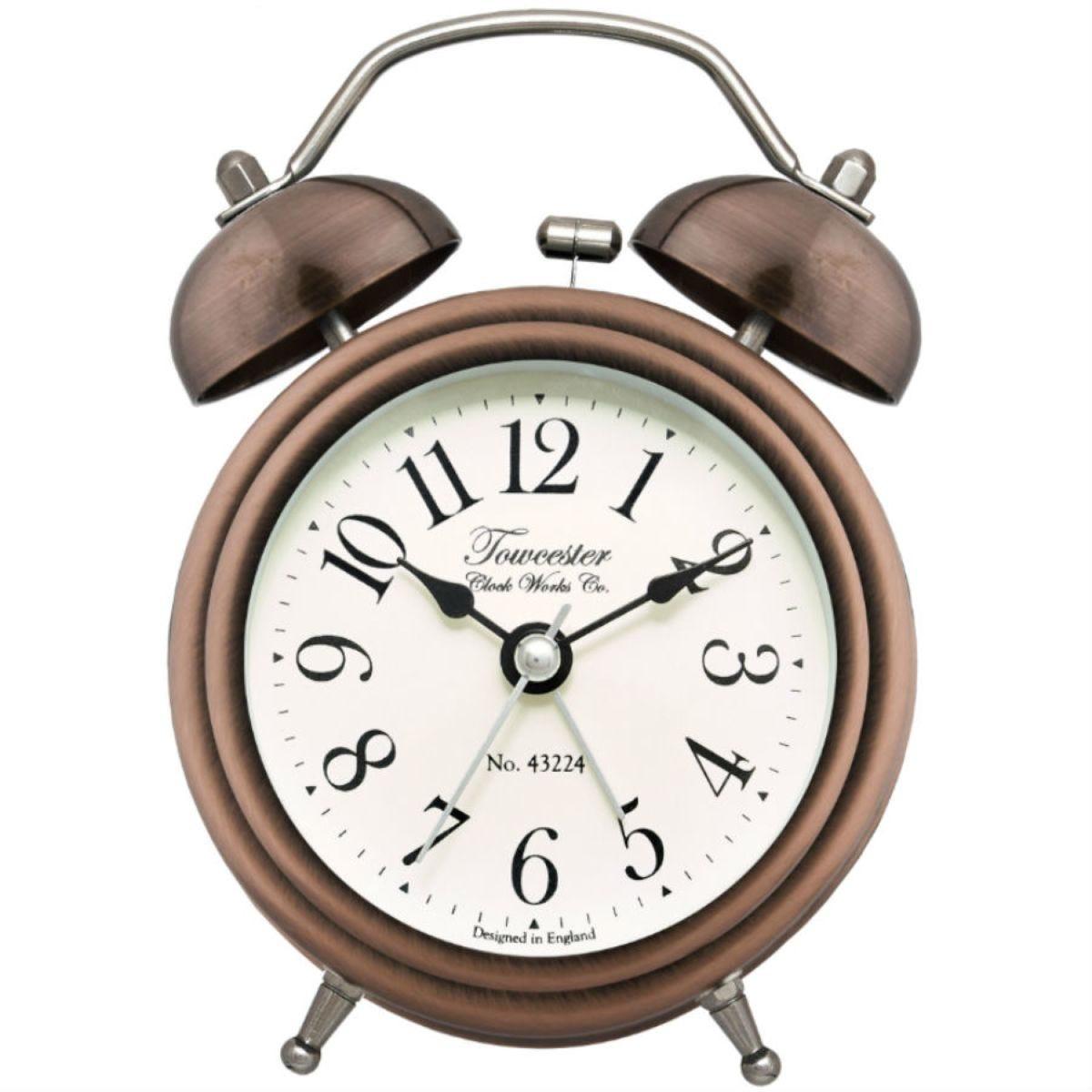 Acctim Pembridge Antique Brass Double Bell Alarm Clock