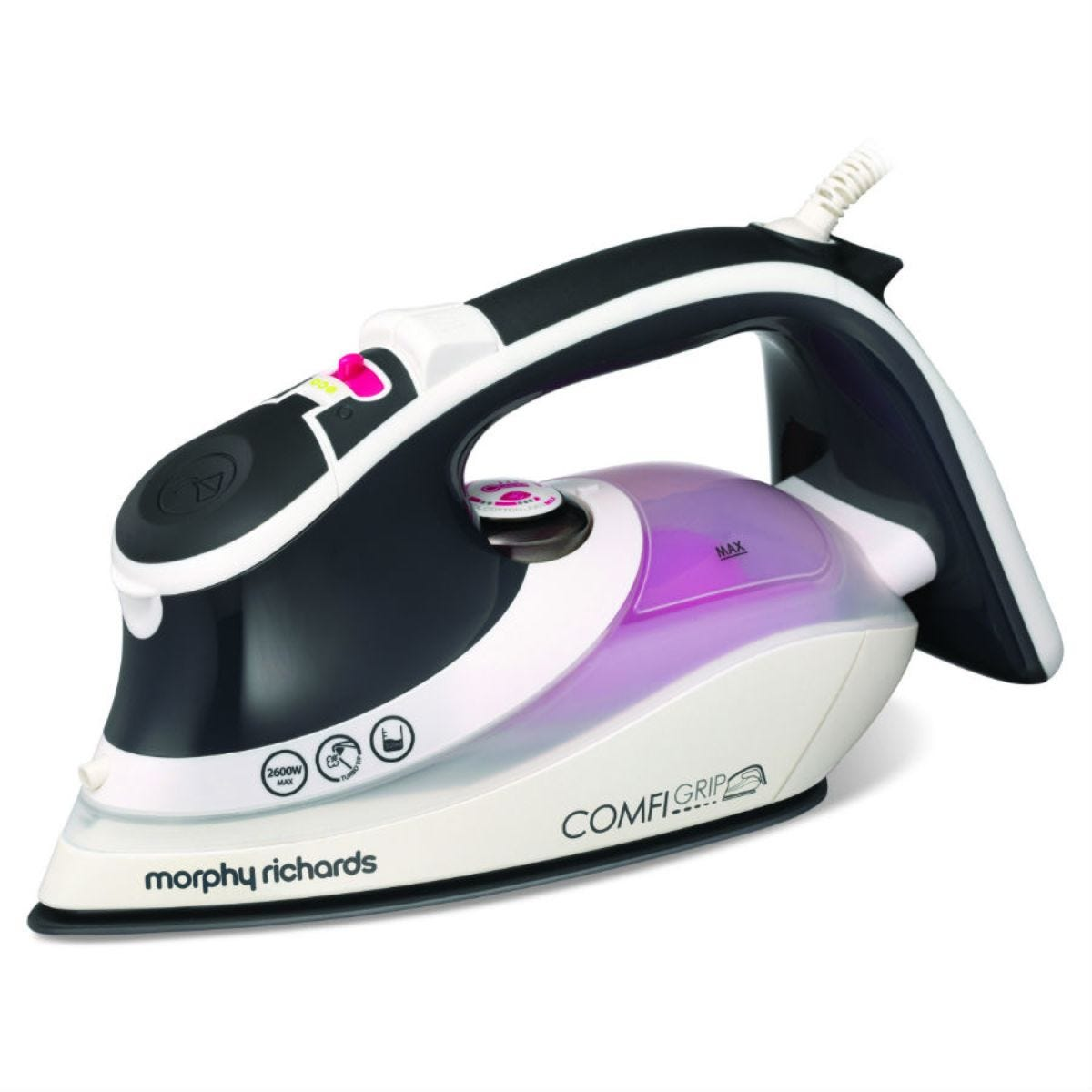 Morphy Richards Comfigrip 2600W Steam Iron - Charcoal/Pink