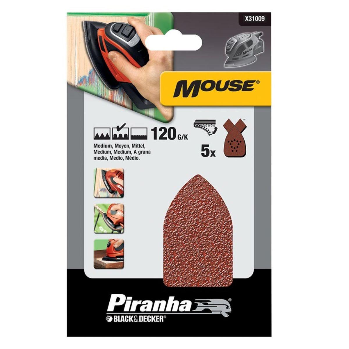 Black & Decker Mouse Sanding Sheets – Pack of 5, 120g