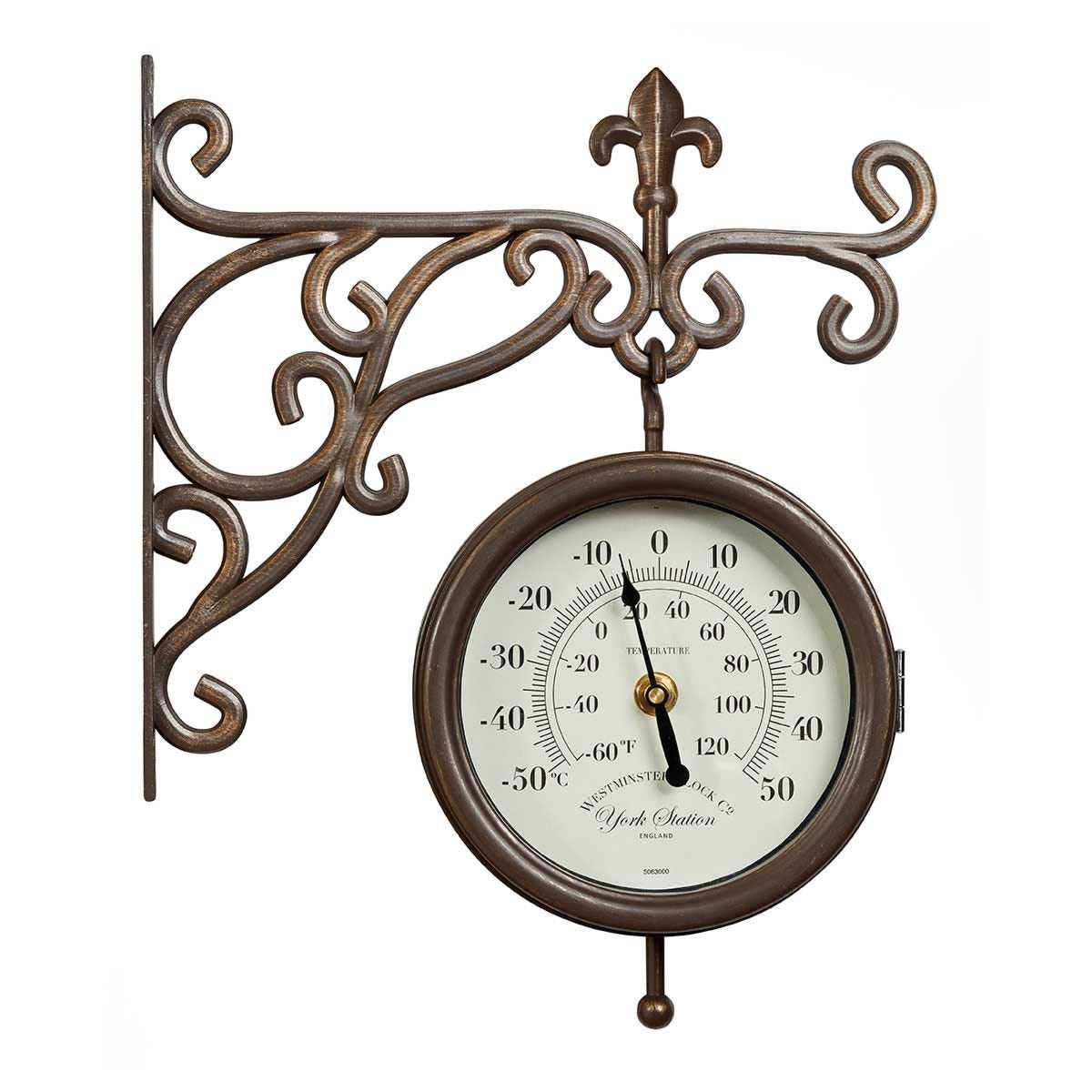 York Station Wall Clock and Thermometer
