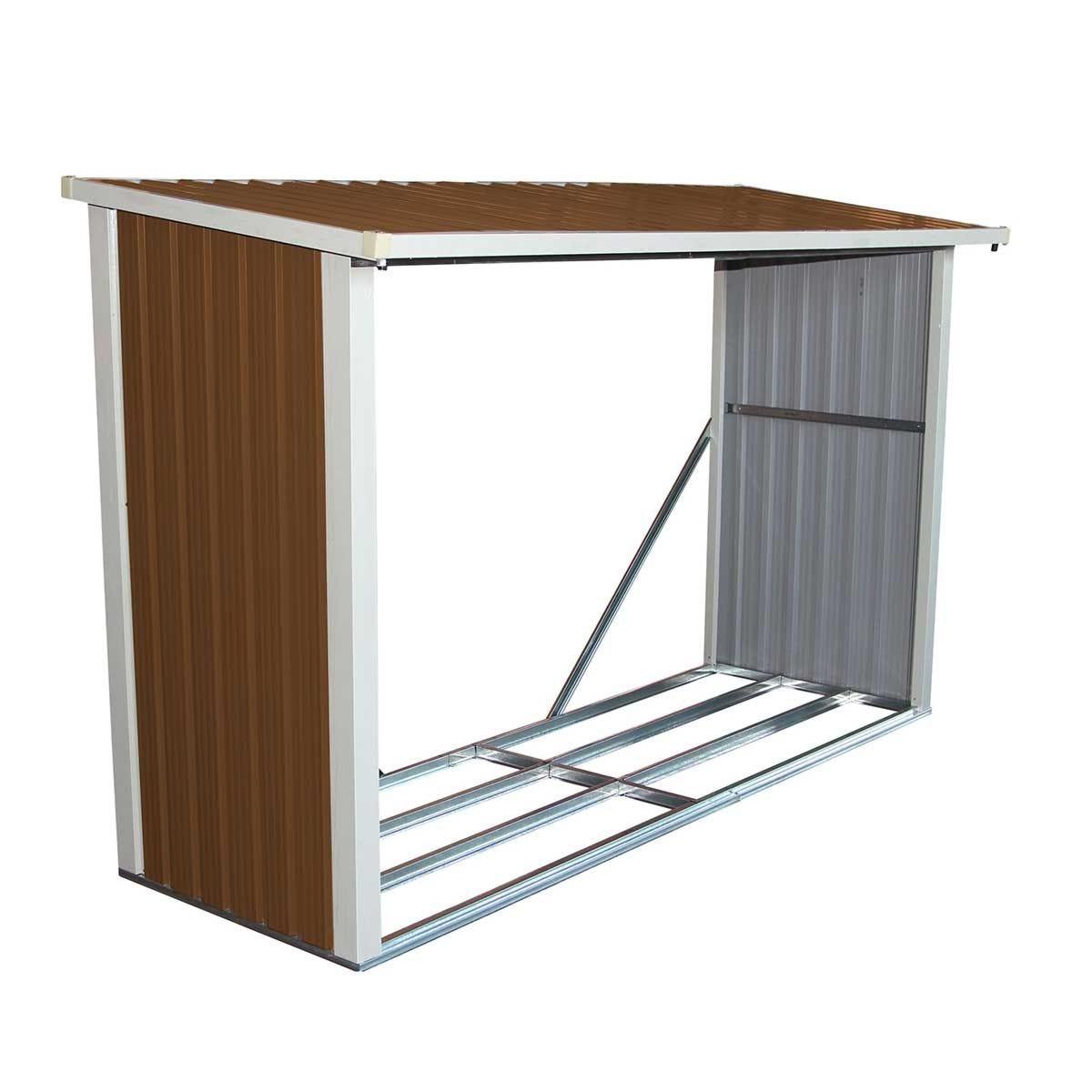 Charles Bentley Garden Metal Log Stores 8x3ft