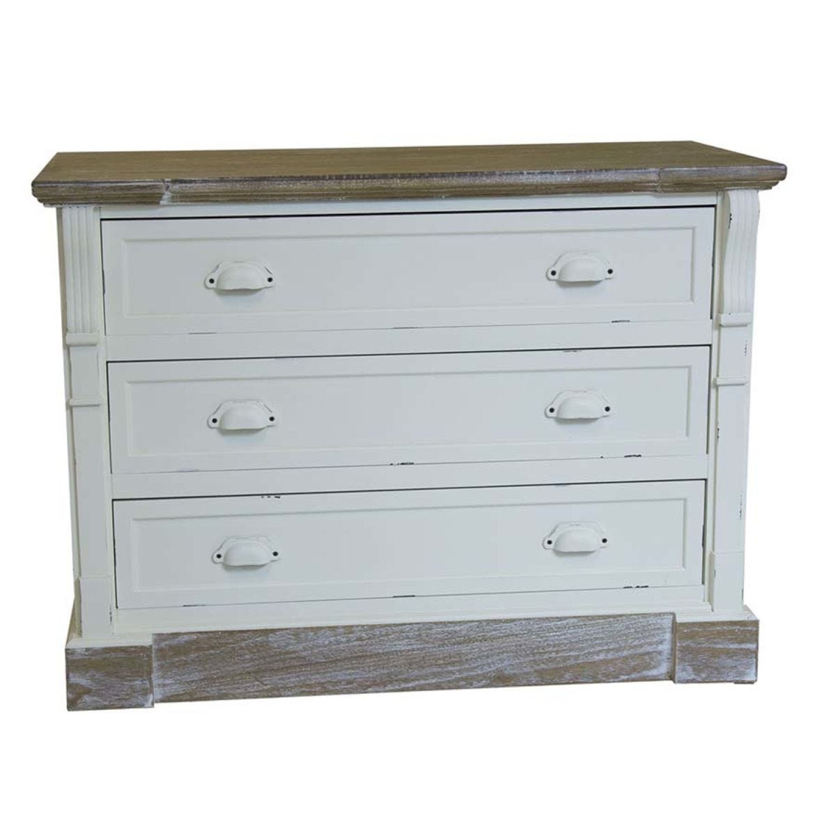 Shabby Chic Vintage French Style Chest of 3 Drawers - White