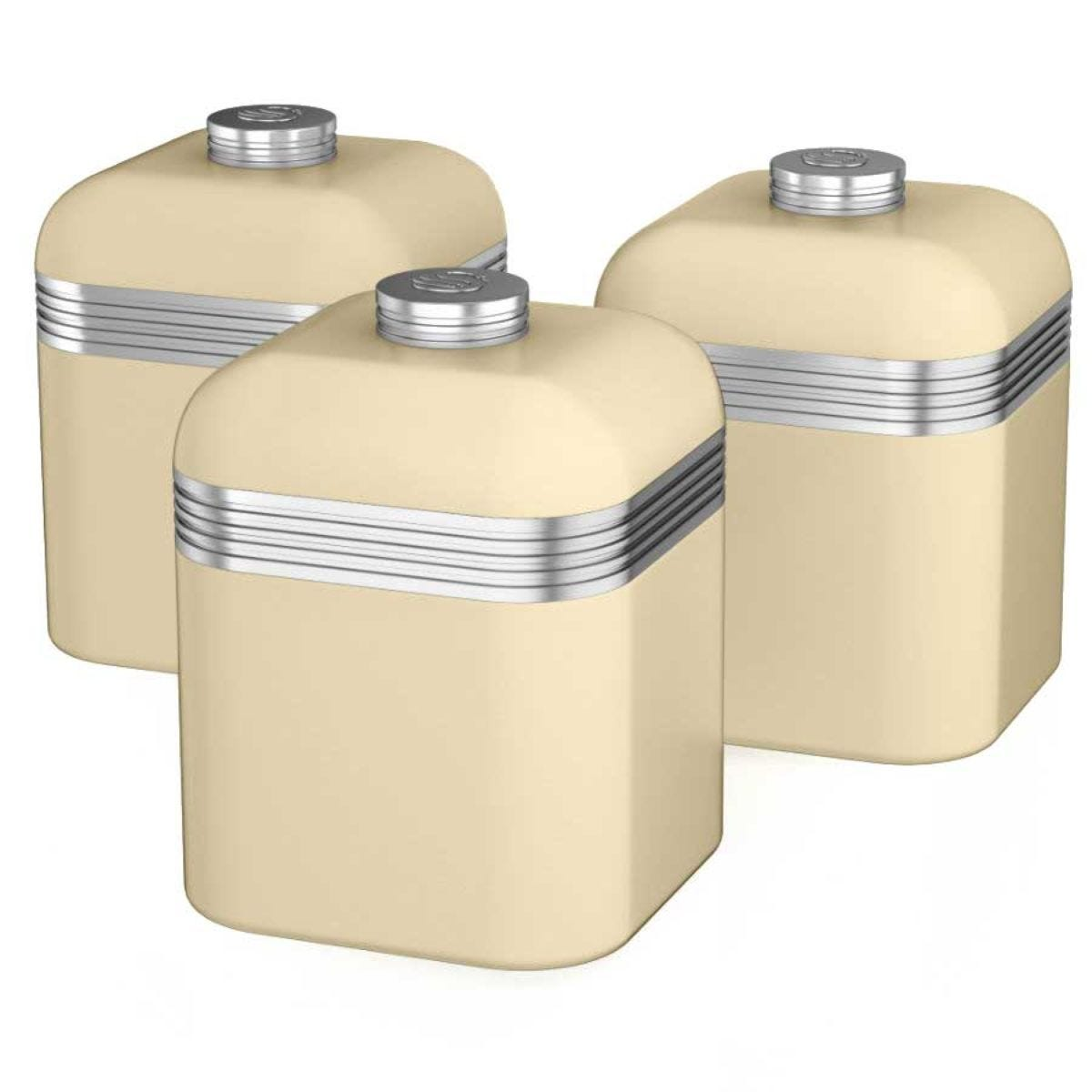 Swan Retro Set Of 3 Canisters - Cream