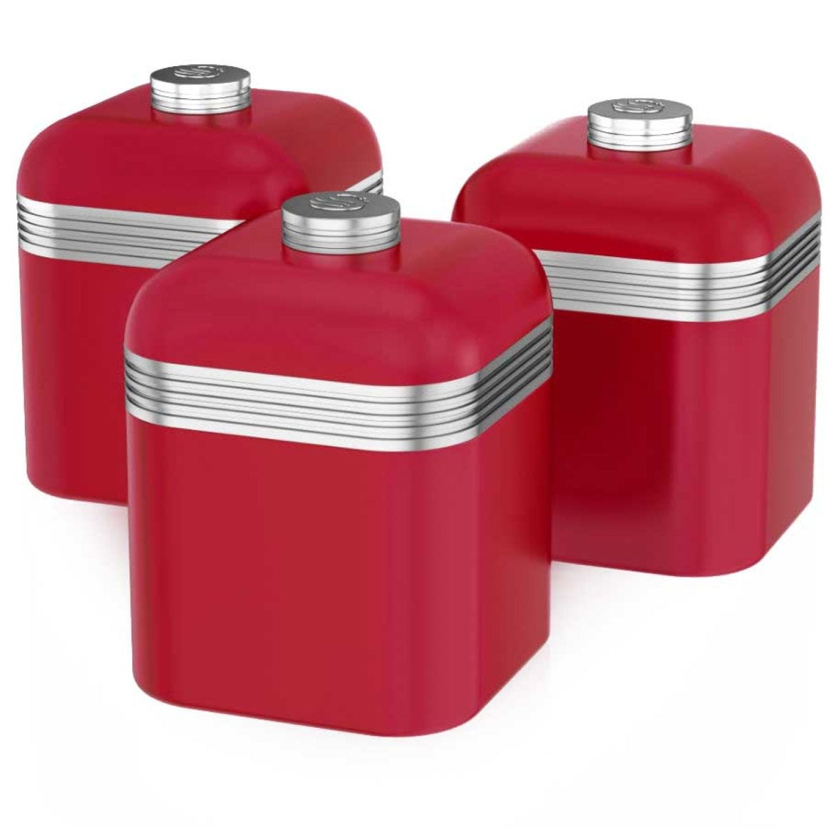 Swan Retro Set Of 3 Canisters - Red