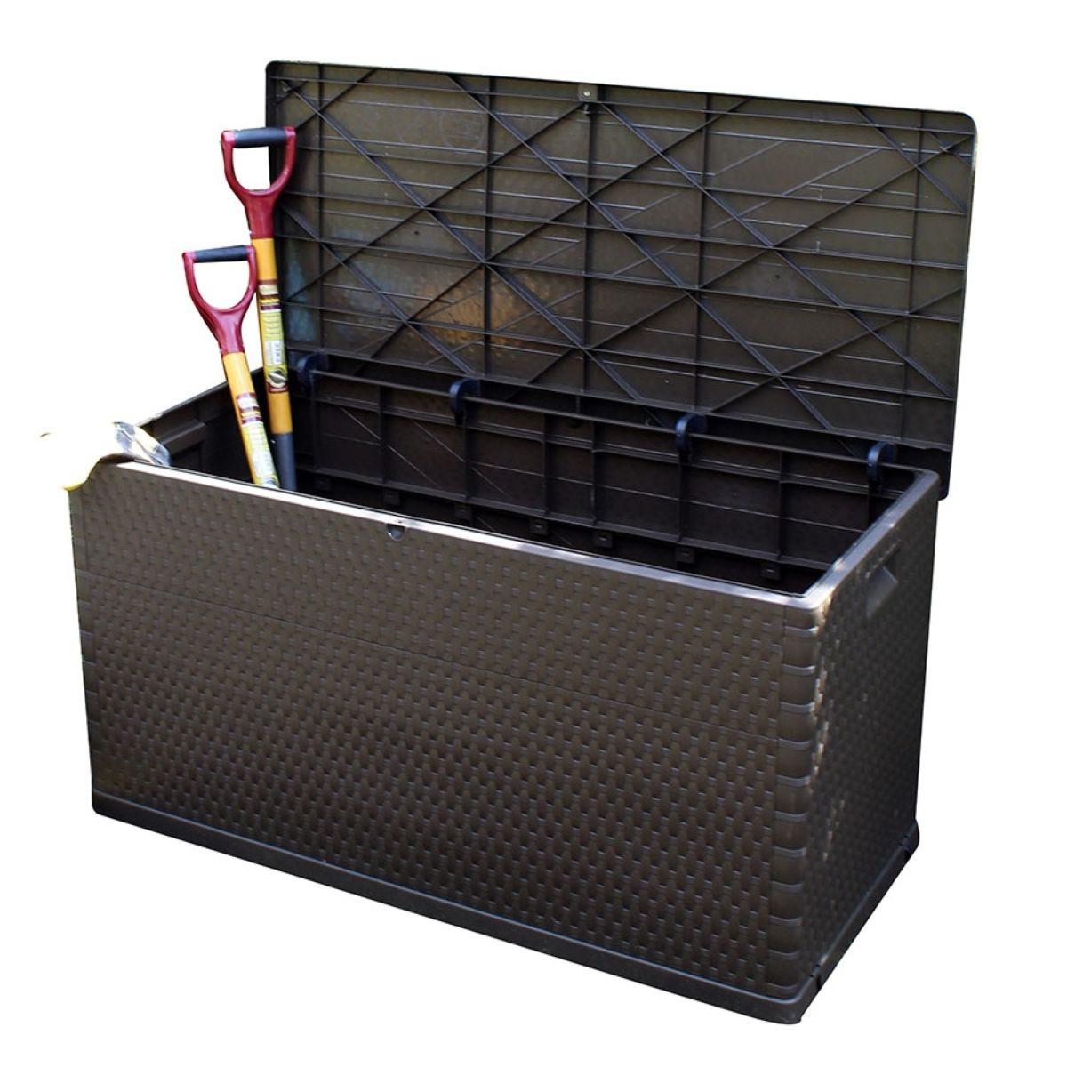 420L Rattan-Effect Garden Storage Chest