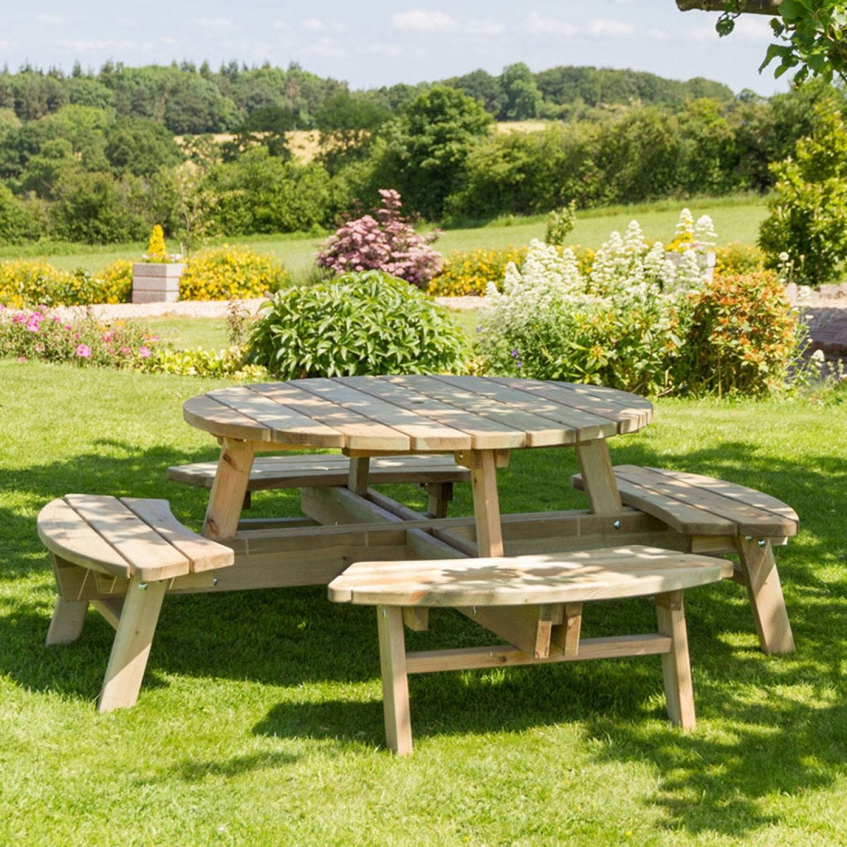 Zest4leisure Wooden Rose 8 Seater Round Picnic Table Robert Dyas