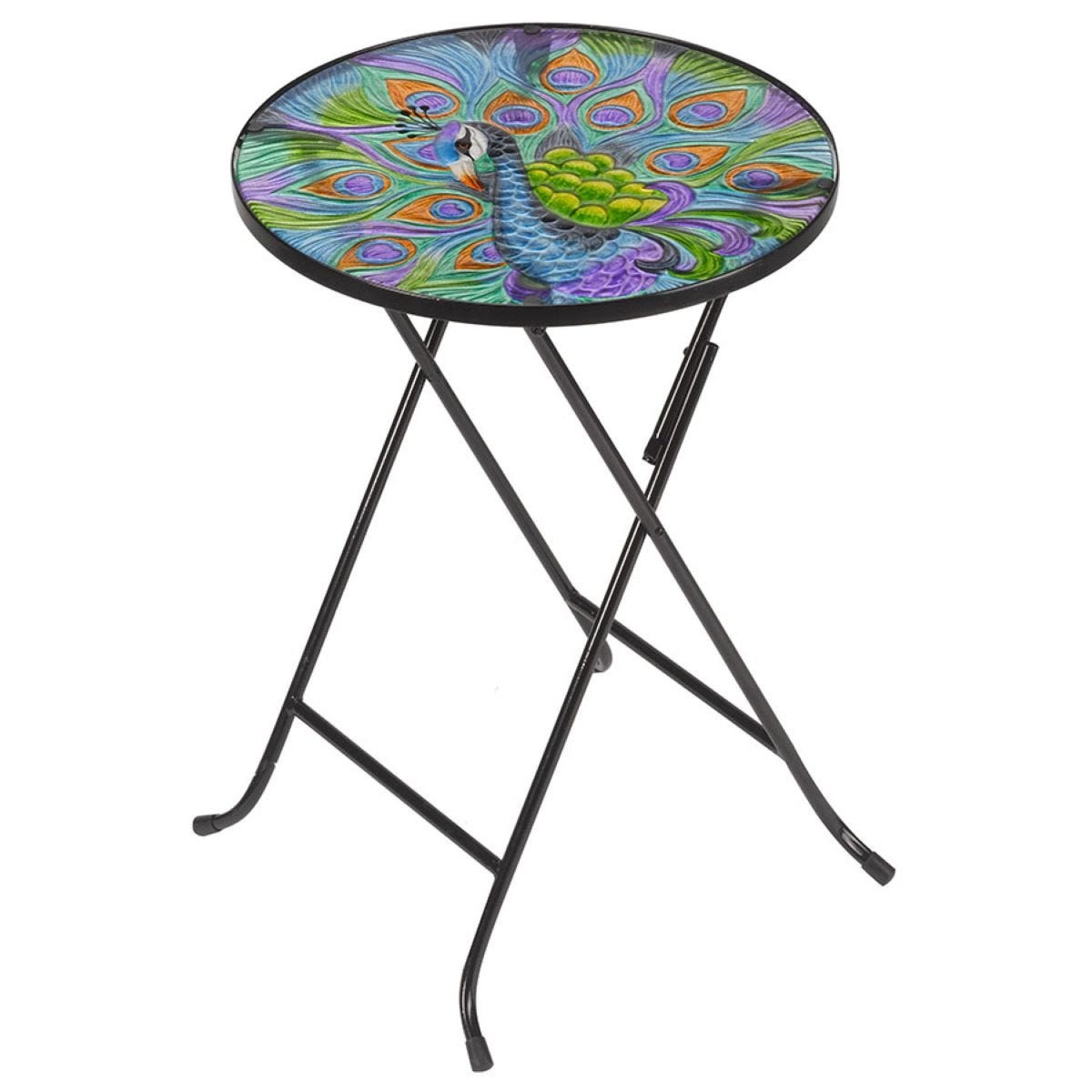 Flamboya Peacock Glass Folding Table
