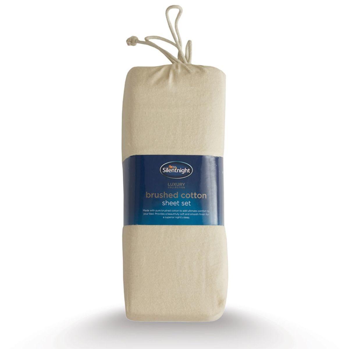 Silentnight Stone Brushed Cotton Fitted Sheet Set