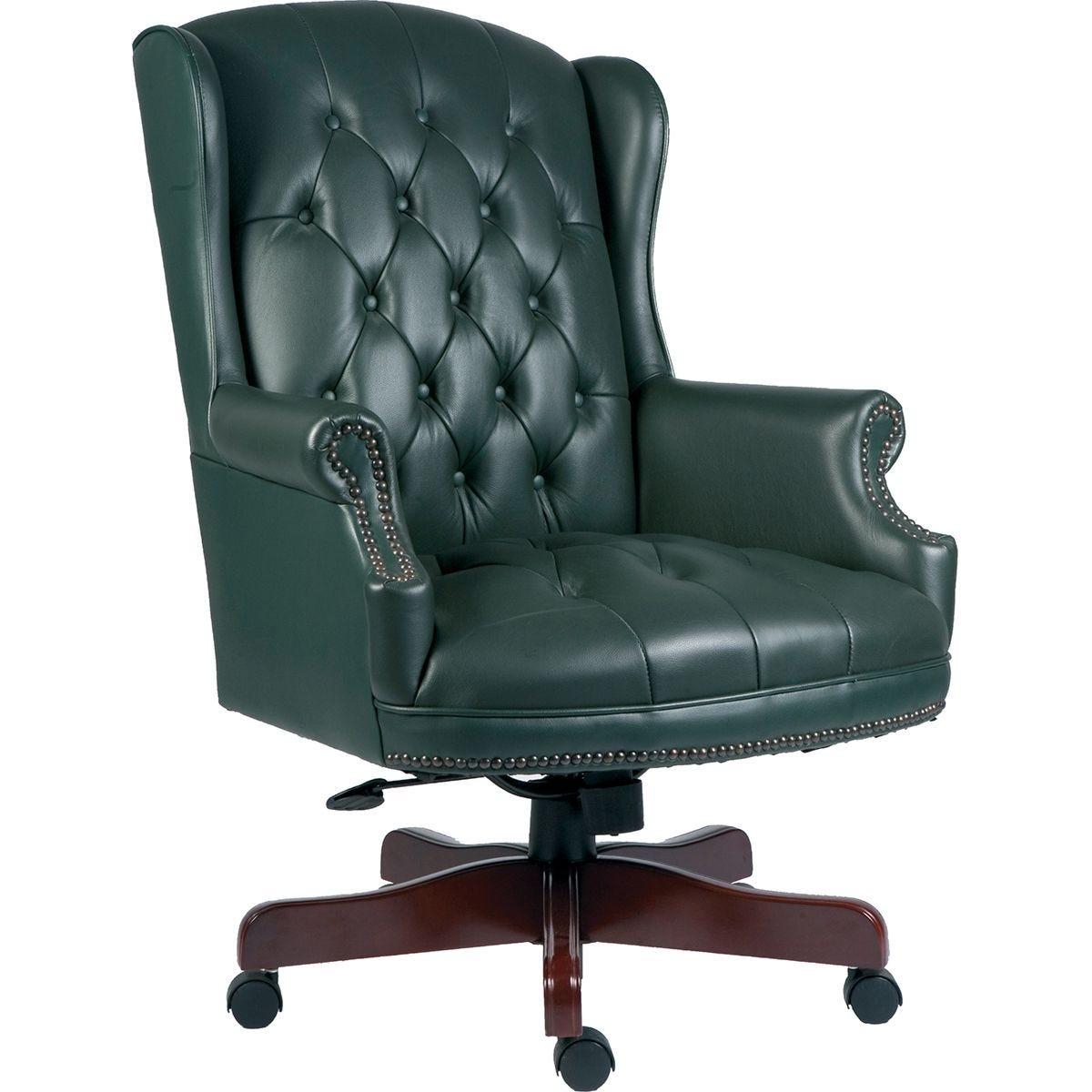 Teknik Chairman Leather Faced Swivel Chair - Green