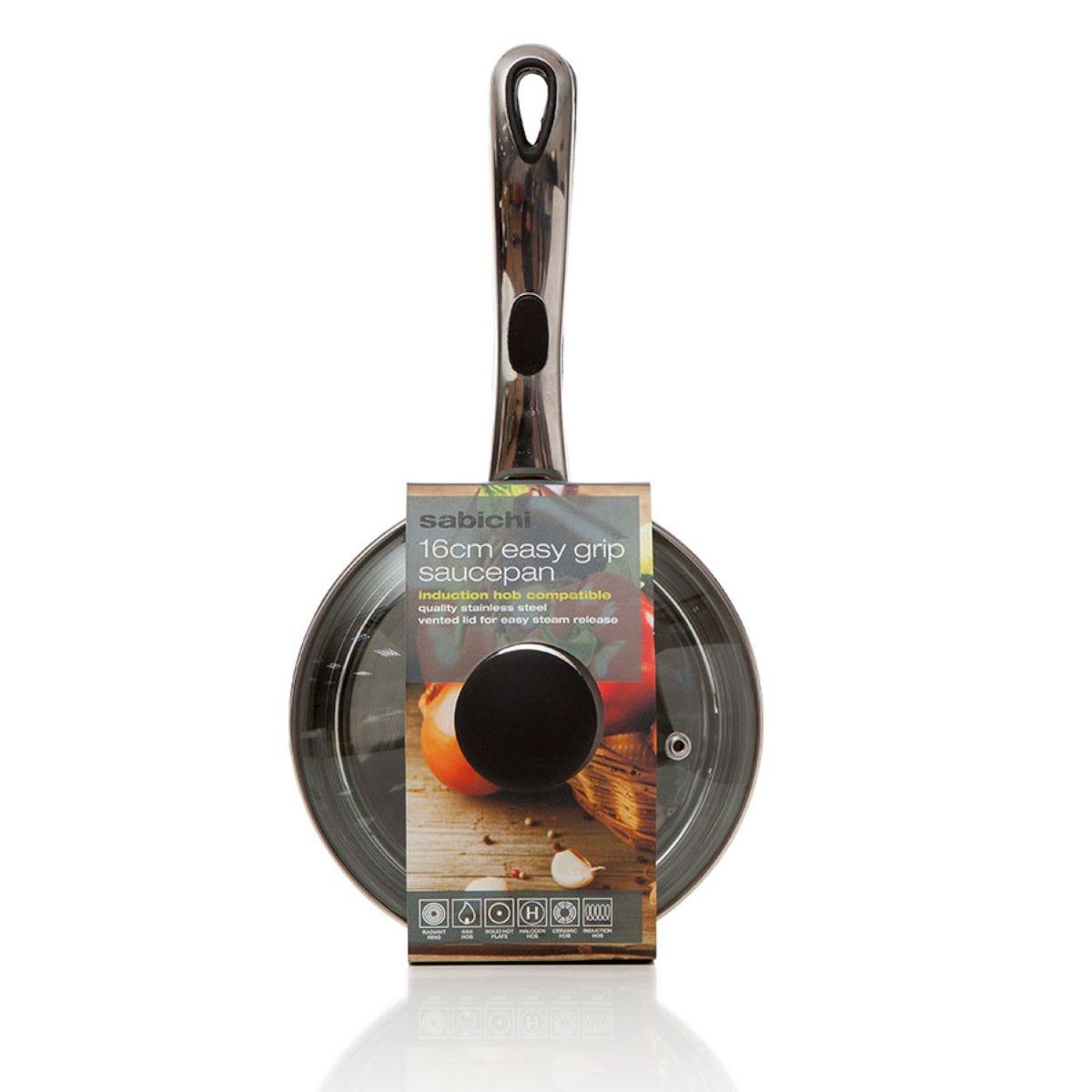 Sabichi Easy Grip Stainless Steel Saucepan - 16cm