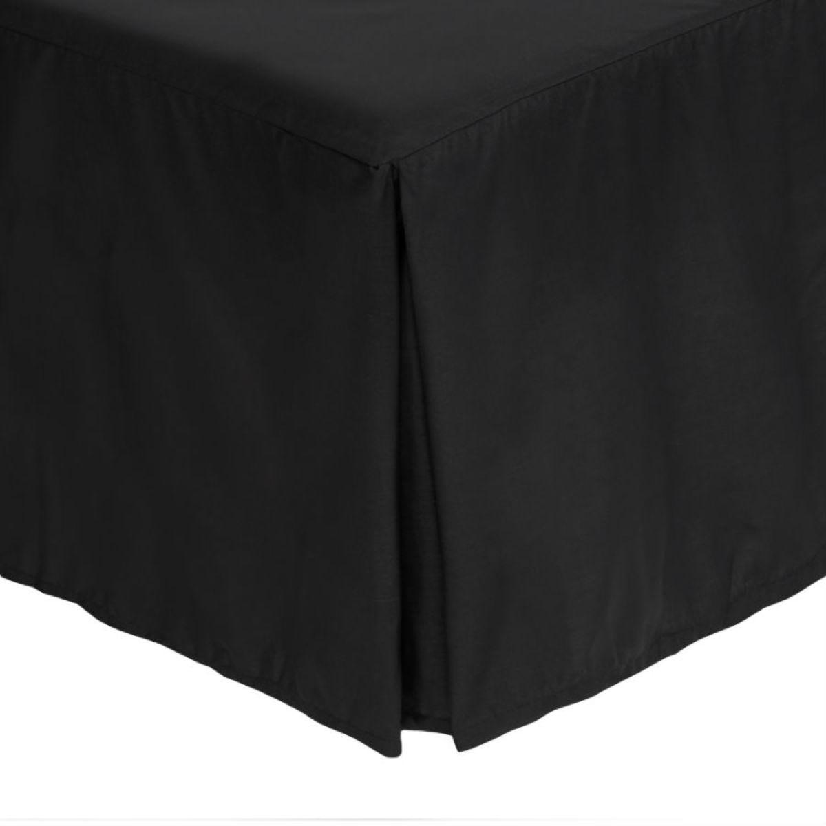 Catherine Lansfield Black Non-Iron Plain Dye Pleated Platform Valance Sheet - Black