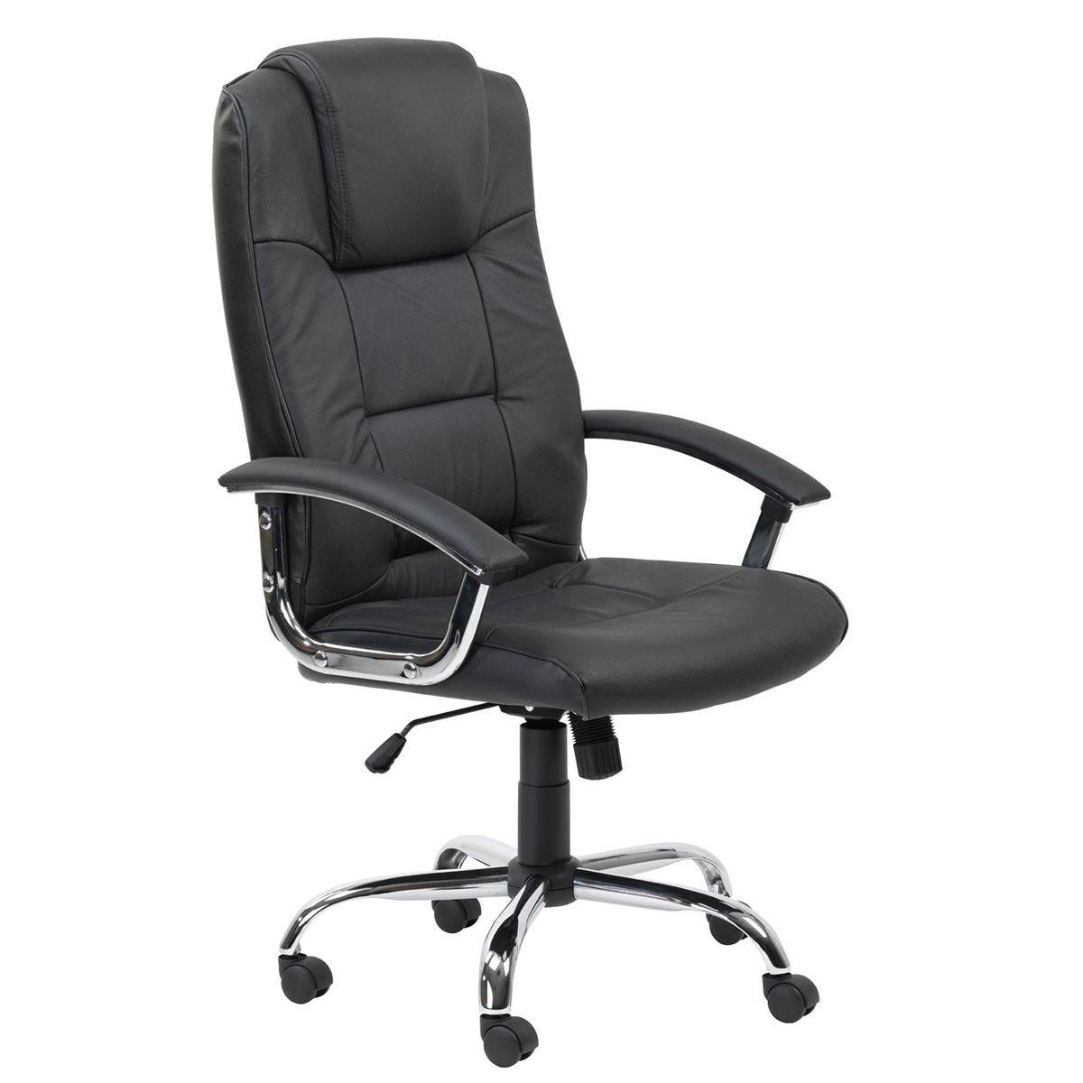 Alphason Houston Leather Office Chair - Black