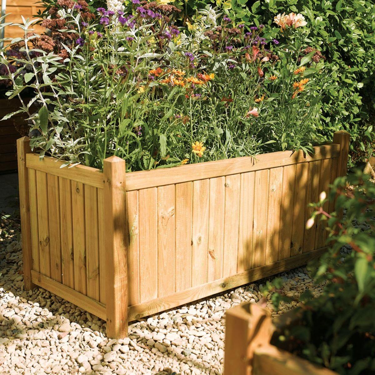 Rowlinson Rectangular Wooden Garden Planter