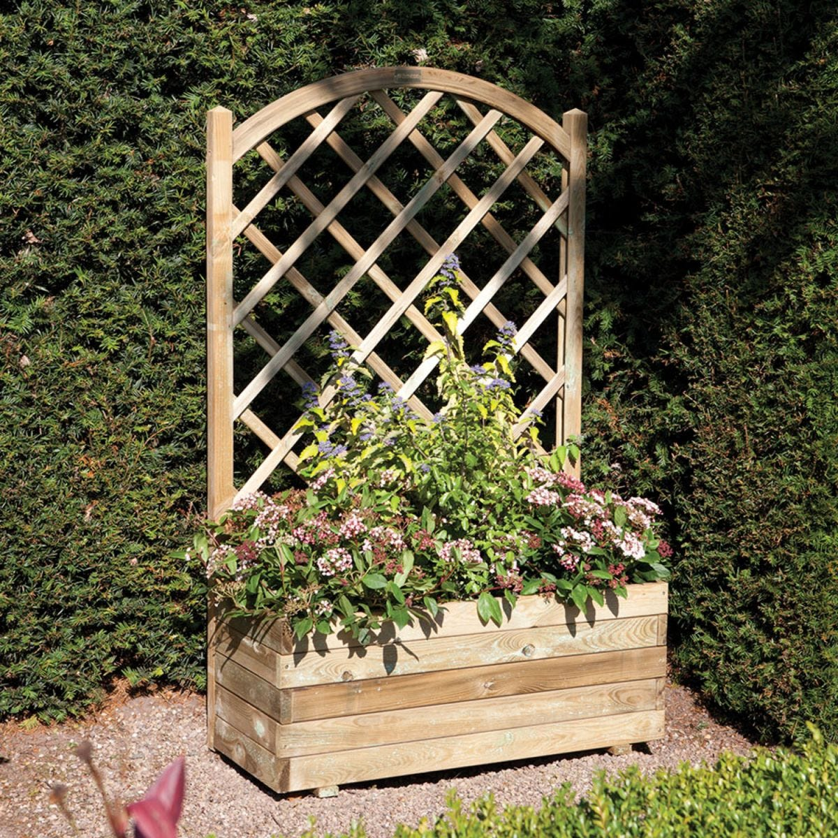 Rowlinson Rectangular Garden Planter with Lattice