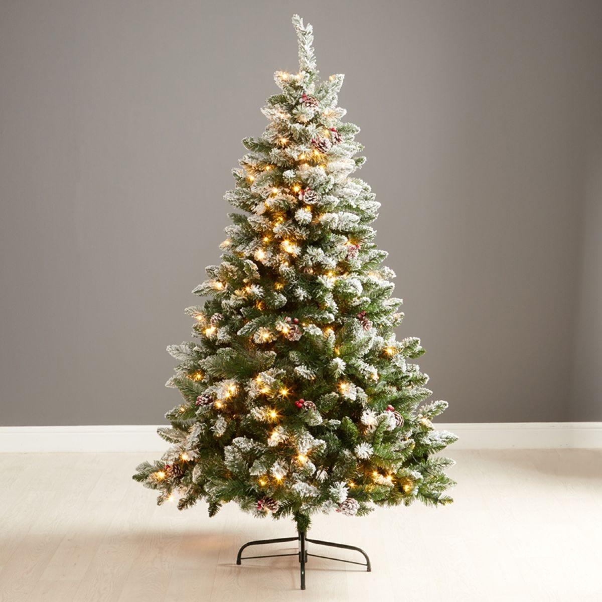 Robert Dyas Pre-Lit Frosted Blenheim Christmas Tree - 6ft