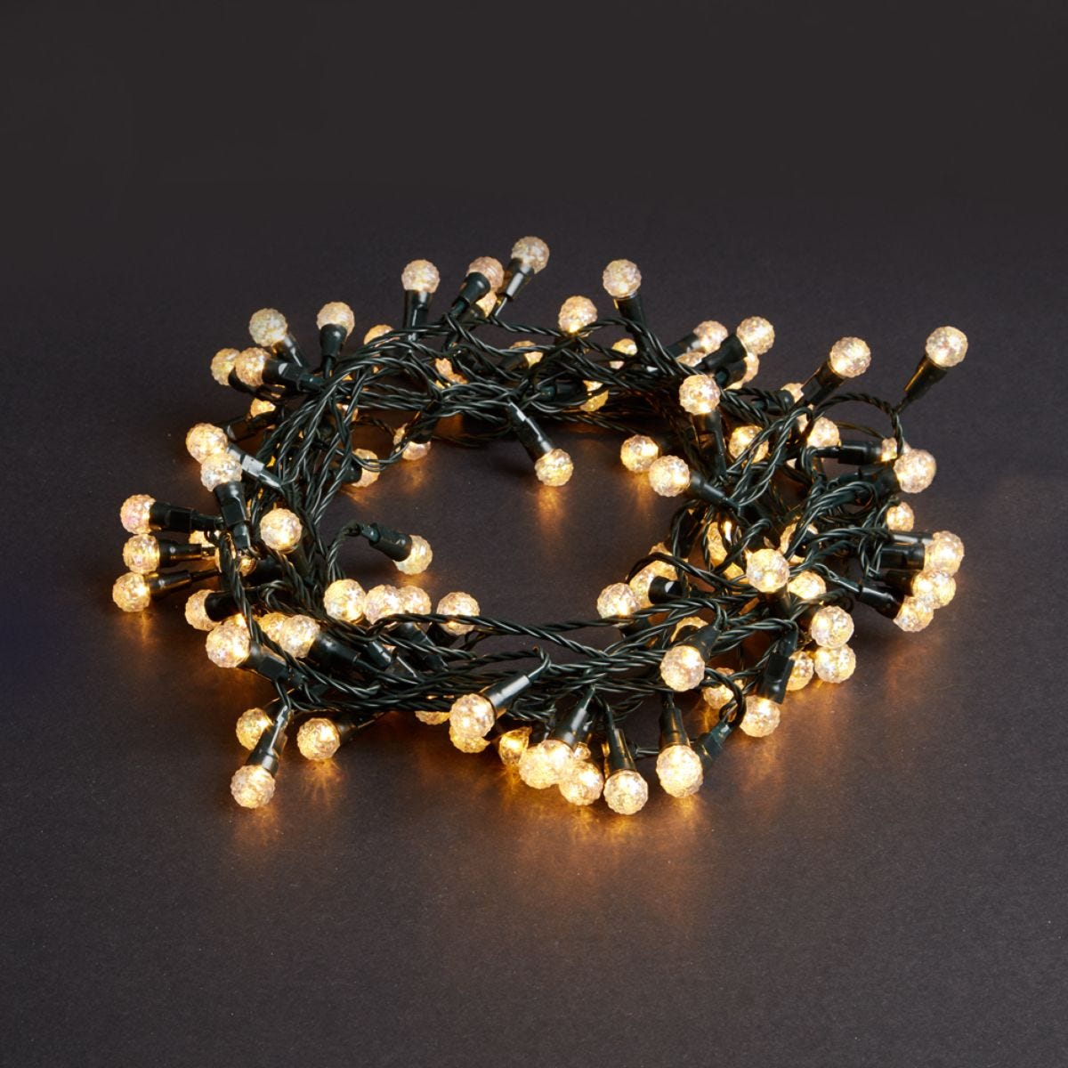 100 Low Voltage LED Crackle Berry Lights - Warm White