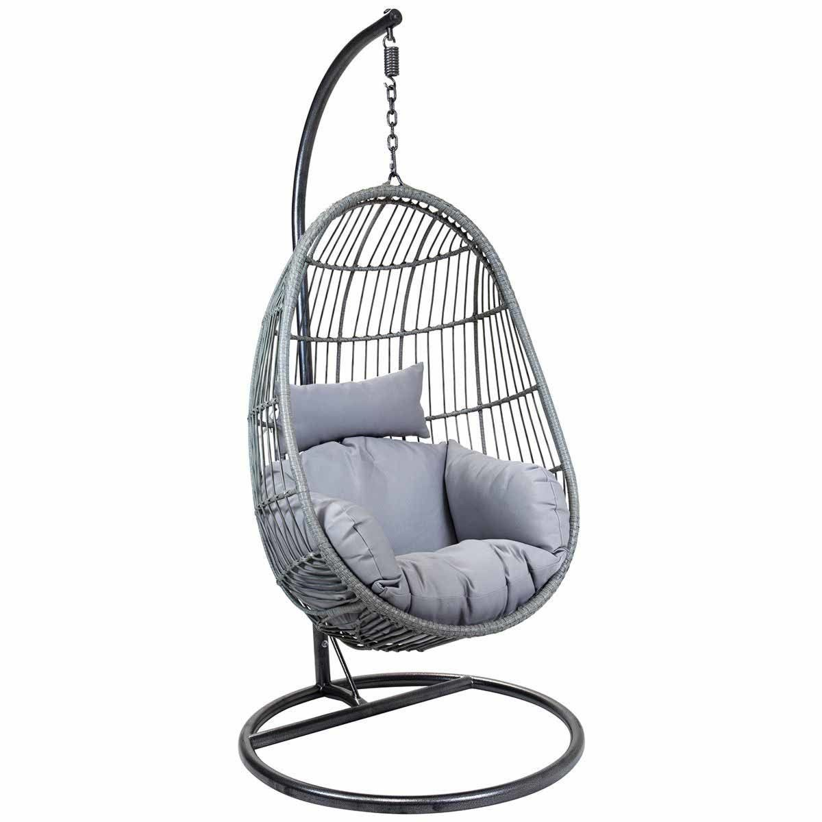 Charles Bentley Rattan Egg Shaped Swing Chair – Grey
