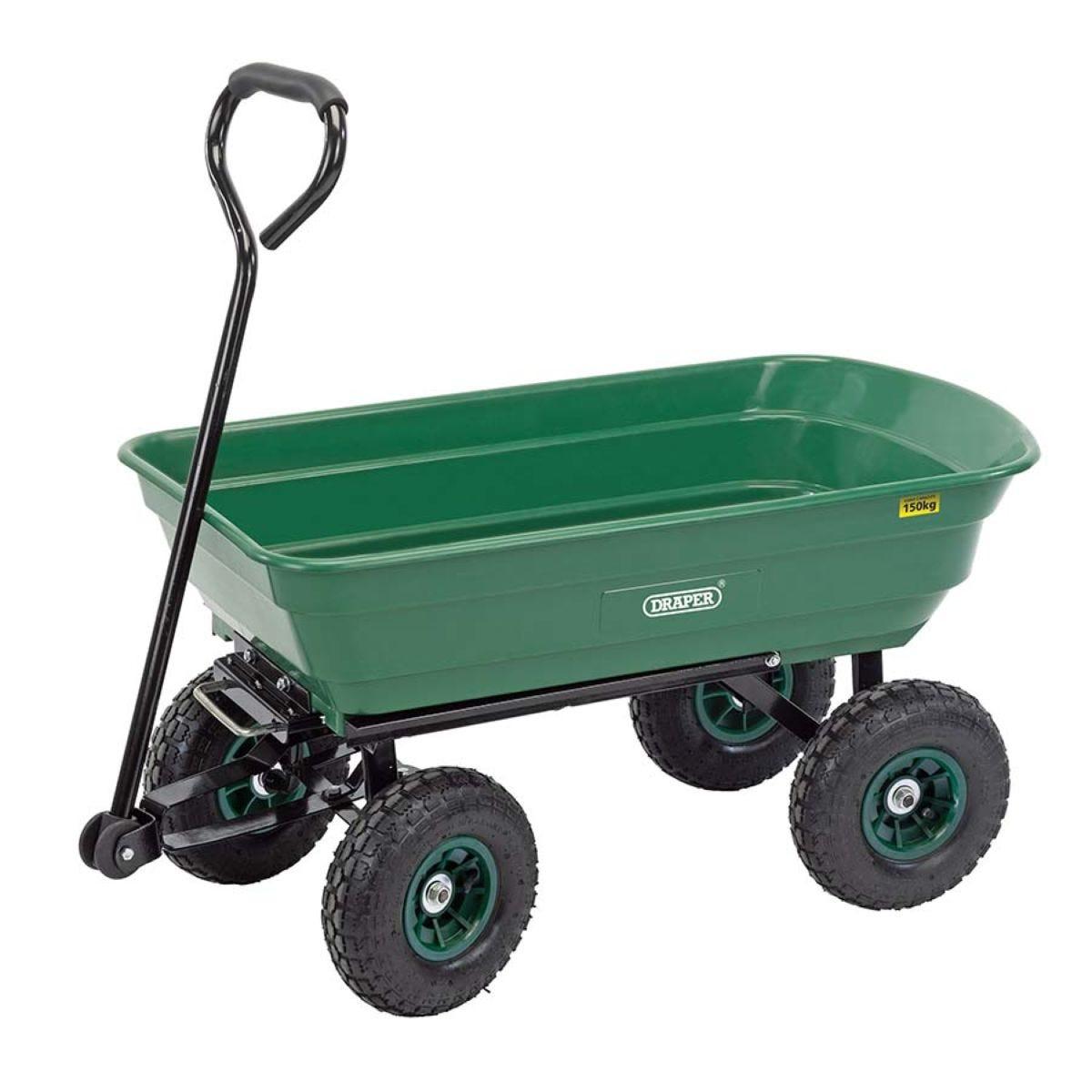 Draper 75L Garden Tipper Cart - Green