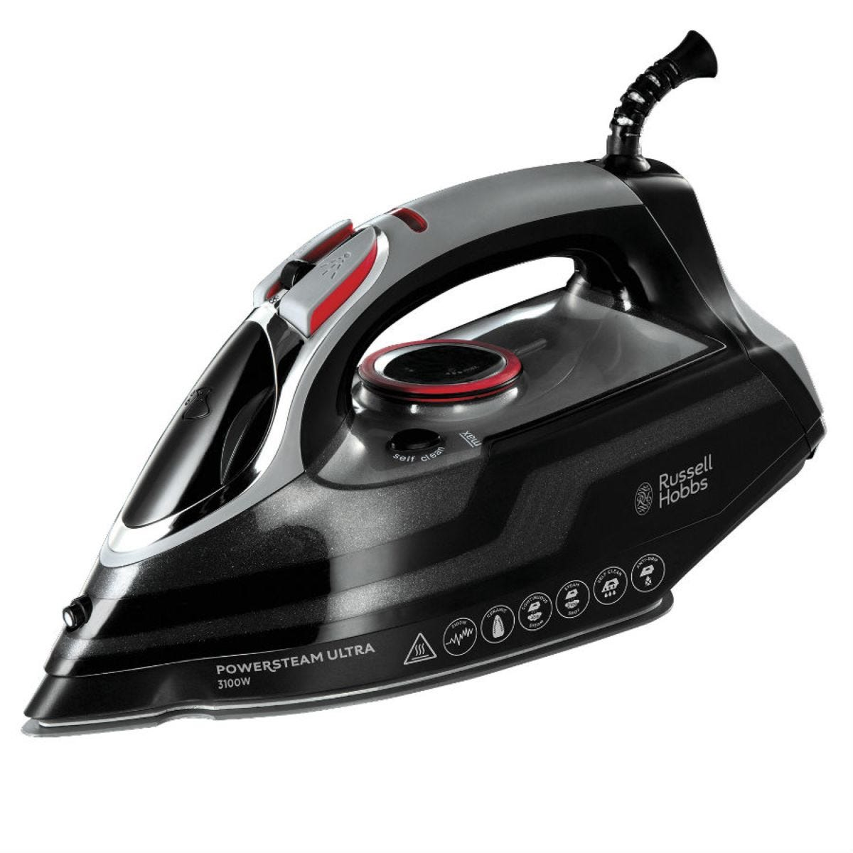 Russell Hobbs 20630 Powersteam Ultra 3100W Vertical Steam Iron - Black/Silver/Red