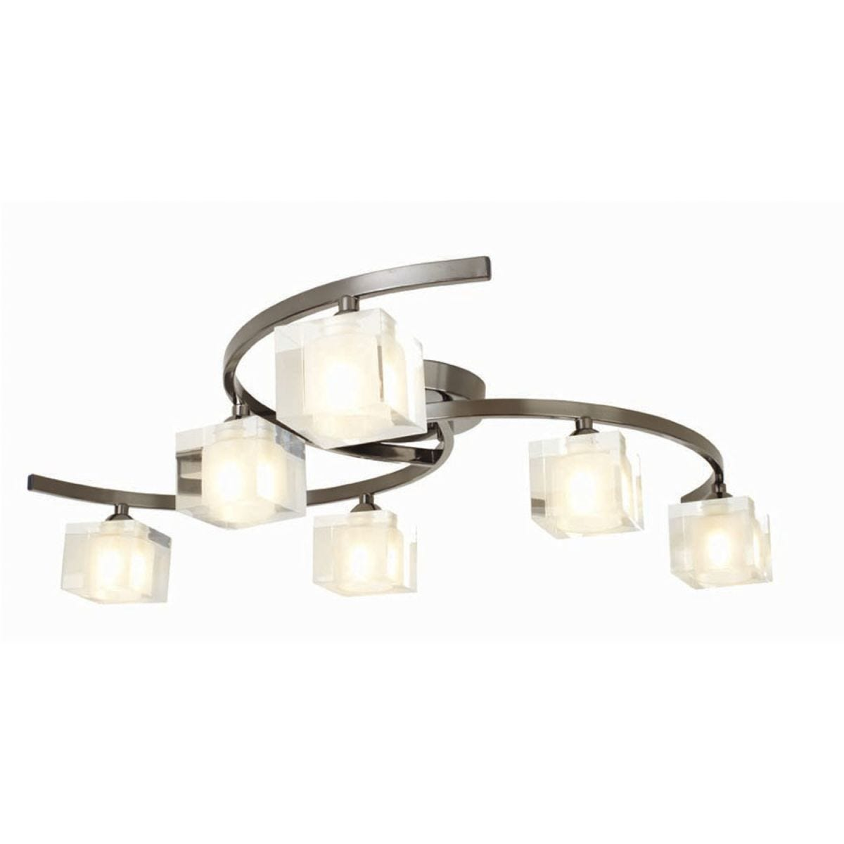 Village At Home Ice 6-Bulb Ceiling Light - Pewter